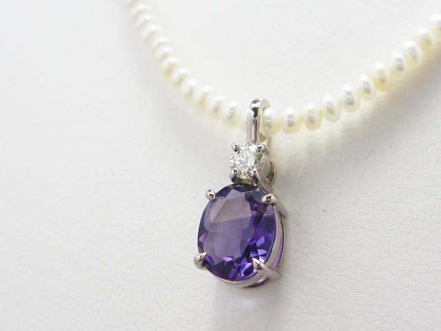 【After】理想のデザインを現実に!アメジストとダイヤモンドを使って、ペンダント作成しました。