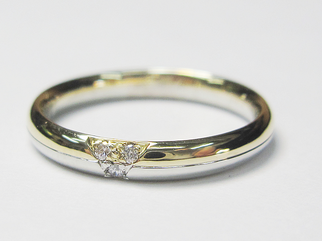 【After】切れた指輪と 外れた石が元通り!想像以上に綺麗に仕上がりました。