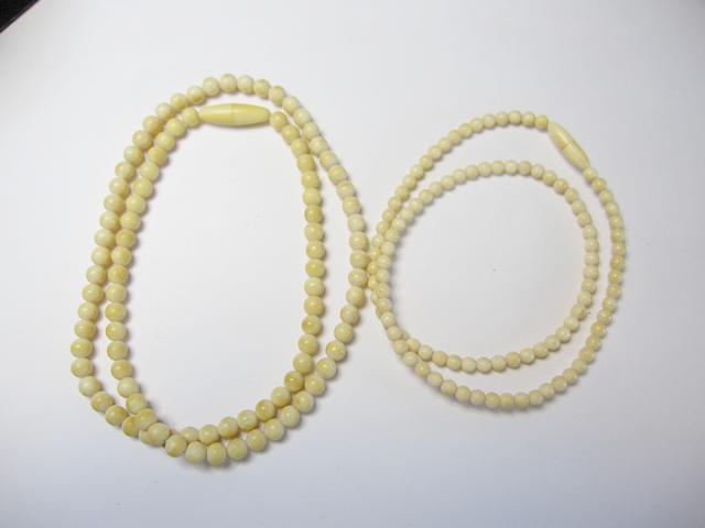 【Before】2本の象牙ネックレスを1本に加工。ロングや二連で使え、バリエーションが増えました!