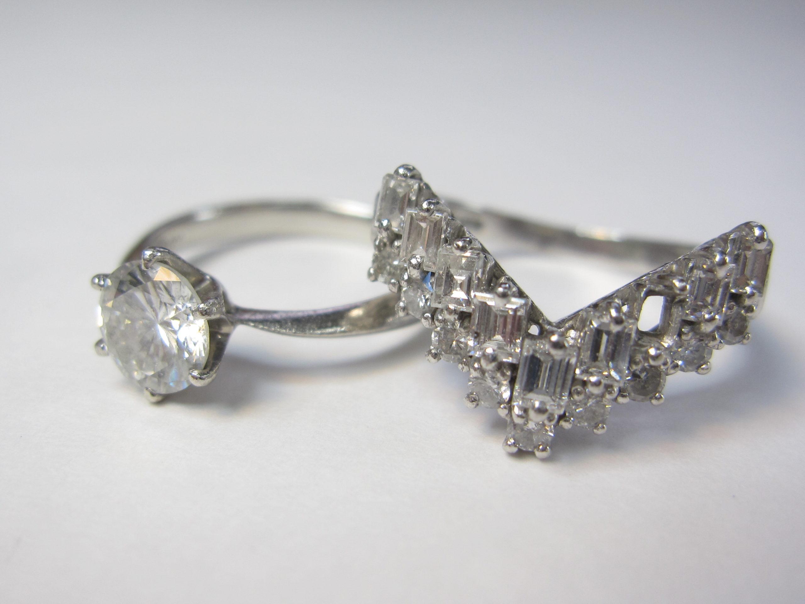 【Before】2本の指輪を1本にリモデル  2本の指輪を1本の指輪に!シンプルデザインで永く使える指輪になりました。